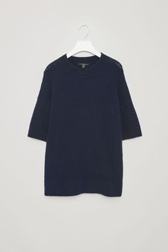 COS image 10 of Bouclé-wool short-sleeve jumper  in Navy