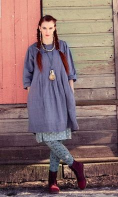loose purple dress with rolled sleeves