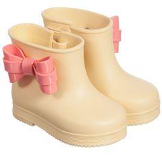 Mini Melissa Girls Yellow Rain Boots with Pink Bow at Childrensalon.com
