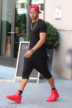 Out and about: Lewis Hamilton took a walk around New York on Thursday in bright red trainers and long shorts Sneaker Outfits, Red Sneakers Outfit, White Sneakers, Short Outfits, Casual Outfits, Men Casual, Bape Outfits, Men's Street Style Photography, Red Trainers