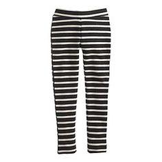 Girls' cozy everyday leggings in charcoal stripe