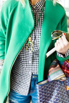 Gingham shirt and bold green coat