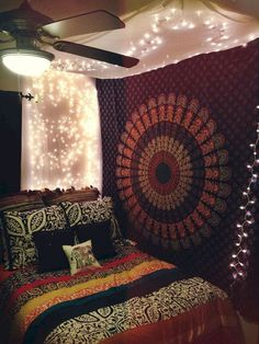 Canopy and lights indian bedroom decor, indian inspired bedroom, boho bedro