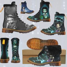 My new boots from Spooky Kook!  They ship WORLDWIDE - vegan friendly - no animal materials - GORGEOUS.  @littlebooteek #strangeling #jasminebecketgriffith #art #fairy #goth #octopus #squid #mermaid #mermaidlife #gothic #boots #combatboots #spookykook #angel #cephalopods #vegan #popsurrealism #popsurrealist #newcontemporary #newcontemporaryart #fantasyart #surrealism #art #painting #acrylics #artist #bigeyes #bigeyeart #lowbrowart #bigeyedart