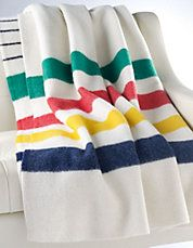 "I would love a Bay Point Blanket in the original colours. Chris and I have a ""Trapper Point"" red and black stripe blanket, but the original colours are so pretty. (I also would love a scarf to match. Katherine, can I borrow yours? Hudson Bay Blanket, Bay Point, Belle Villa, Camping, Fleece Throw, Wool Blanket, Car Blanket, Dream Blanket, Gift Guide"
