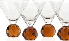 The awesome Martini Glasses With Amber Stems Modern Festive Barware Design