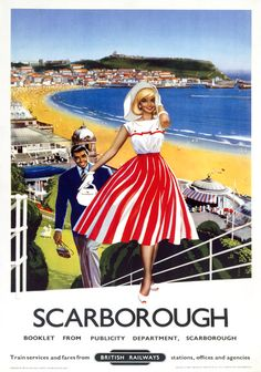 inch) Print (other products available) - Poster produced by British Railways (BR) to promote train services to Scarborough, East Riding, Yorkshire. Artwork by an unknown artist. - Image supplied by National Railway Museum - Print made in Australia Posters Uk, Train Posters, Railway Posters, 1950s Posters, Beach Posters, British Travel, British Seaside, National Railway Museum, Tourism Poster
