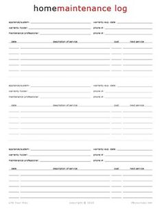 Home Maintenance Log Free printables.lots of children ideas