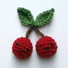 Crocheted Cherries  (with faces) -- adorable