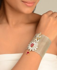 Mesh Bracelet Cuff with Anarakali Brooch - Exclusively In