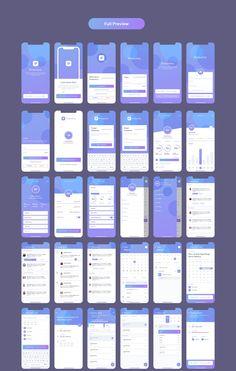 Productivo Mobile UI Kit – UI-Kits auf – Entwurf – Make Mobile Applications Ios App Design, Mobile Ui Design, Wireframe Design, Android App Design, Mobile Application Design, User Interface Design, Web Application, Kit Ui, Webdesign Layouts