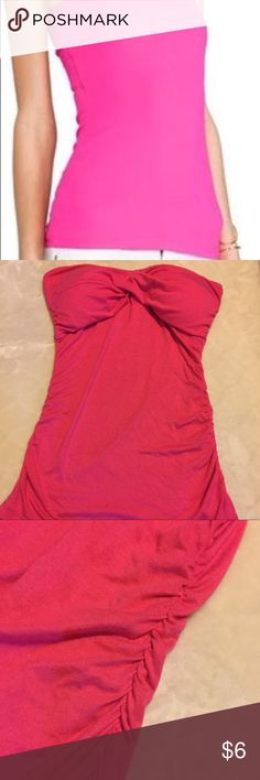 """POOF🔥Sleveless bright pink top Bright POOF TOP with self Bra. Touching on the sides. Very slimming effect. Perfect for the summer days. It's labeled M/L but if you are blessed with a big chest, I don't think it would fit you. Measurements: 20""""L counting lump in Breast, 11.5"""" across right under the breast.  17.5"""" from the lowest point between the breast to the very bottom hem. Any other questions, please ask! Happy Poshing. Poof! Tops"""