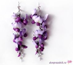 How to Make a Wisteria Polymer Clay Earrings ~ The Beading Gem's Journal