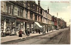 Main Street - Circa 1904 - 2nd shop on the left is Peddie & Co., Newsagents & Stationers, Publisher of this 'Old Cambuslang' Post Card - Card dated 1905 - Reliable Series No 803