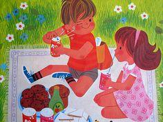 picnic, vintage illustration