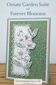 I've used Stampin' Up! Forever Blossoms Stamp Set, Cherry Blossoms dies, Ornate Garden DSP and Ornat Making Greeting Cards, Greeting Cards Handmade, Card Making Kits, Making Ideas, Embossed Cards, 3d Cards, Stamping Up Cards, Handmade Birthday Cards, Flower Cards