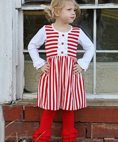 Love this White & Red Stripe Knit Dress - Infant, Toddler & Girls by Be Girl Clothing on #zulily! #zulilyfinds
