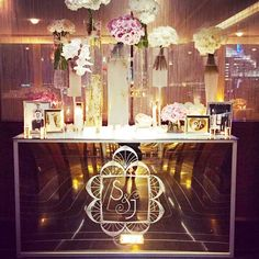 How chic does our custom logo look etched into the mirrored bar? Loving how @daughterodesign and @davidbeahm incorporated our #CeciBride's monogram into the wedding decor at the @rainbowroomnyc #love #detailsareeverything #eventbranding #logo #monogram #wedding #branding #design #deco #lastnight #rainbowroom #CeciNewYork #beautifyyourworld