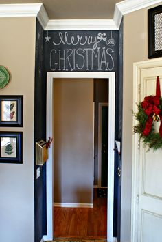 KITCHEN CHALKBOARD WALL  chalkboard paint. How fun to do small section somewhere. Change the message for each holiday or whenever!