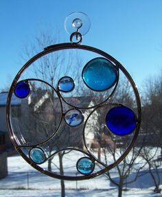Blue Circle Stained Glass Suncatcher by sawtoothstainedglass, $25.00