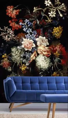 Dark florals will create a beautiful relaxing space in your home with a hint of luxury. Think regencycore that oozes art gallery vibes. Your home will look like a piece of art! Go maximalist and style with a bright blue couch in your living room, or tone it back in your bedroom with a modern wooden bed and crisp white bedding. This dark floral wallpaper is so versatile! Flower Wallpaper, Wall Wallpaper, Vintage Floral Wallpapers, Colored Vases, British Flowers, Flower Vases, Dark Interiors, Wall Murals, Modern Wooden Bed