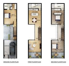 would reduce the EG bedroom to a storage and mud room, while creating a portion of covered outdoor space for dining under the kitchen on the floor. Narrow House Designs, Narrow Lot House Plans, Small House Design, House Floor Plans, Minimalist House Design, Minimalist Home, Terrace Design, Home Design Plans, House Layouts