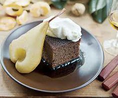 Pear Ginger Cake With Whipped Cream And Rum-Caramel Glaze Recipe ...