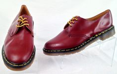 Dr Marten Mens UK 11 US 12 Red Leather Oxford Shoes Used  #DrMartens #Oxfords