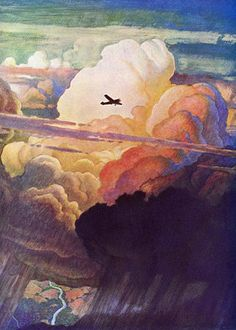 watercolor, plane in the clouds - I love this, does anyone know the artist?
