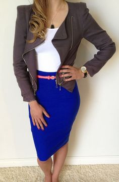 gray jacket, blue pencil skirt, white blouse @roressclothes closet ideas #women fashion  outfit #clothing style apparel