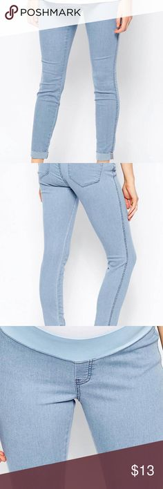ASOS Maternity TALL Denim Jeggings - Light Wash Rivington Denim in Candy Light Blue with turn ups with under the bump waistband. ASOS Maternity Pants