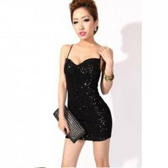 $8.18 Party Queen Dazzling Sequins Embellished Spagetti Straps Mini Dress For Women