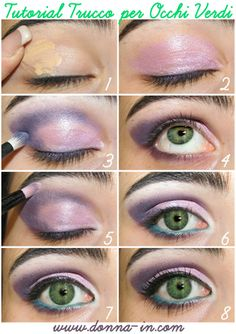 Lilac shadow tutorial for green eyes! For more products that make your green eyes pop, visit Beauty.com.
