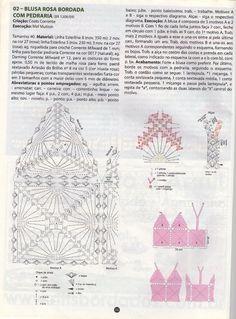 AS RECEITAS DE CROCHÊ: Blusa de squares de crochê bordada com pedraria