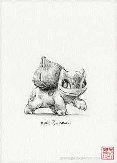 "Bulbizarre - 5 x 7"" imprimer (pokemon dessin, art, illustrations, jeux…"