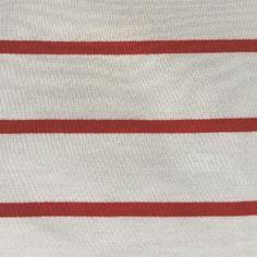 Item #: MDTN01- Red/Natural 60% Modal/40% Tencel Stripe Jersey (Knit) Specification: 6.7 oz. Stripe is 1 1/8″ X 1/4″ Width: 58″