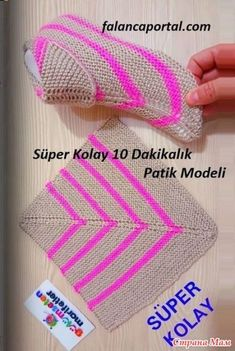 Super pantuflas à partir de un cuadrado.Super Easy Slippers to Crochet or to KnitBooties to Crochet – Step by Step Guide - Design Peak Crochet Socks, Knitting Socks, Loom Knitting, Knitting Stitches, Crochet Baby, Free Crochet, Knit Crochet, Knitting Designs, Knitting Patterns Free