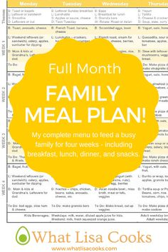 A complete menu plan for a busy family for a full month!  My menu contains four full weeks with breakfast, lunch, dinner, and snacks - and also includes a shopping list and links to recipes.  Made by a busy mom with two sets of twins, from @whatlisacooks
