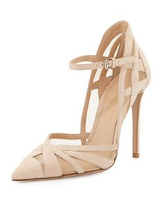 X26MS Gianvito Rossi Suede & Mesh Ankle-Strap Pump, Nude | FW 2014 | cynthia reccord