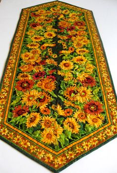 Sunflower Quilted Table Runner  Autumn Colors by SallyManke