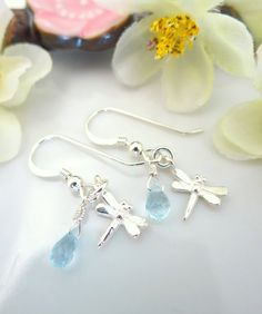 Sterling silver dragonfly blue topaz dangle earrings by KBlossoms, $42.00