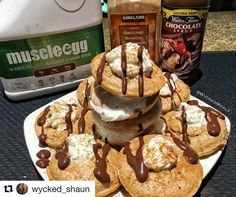 """Stating the day with this healthy stack! @muscleegg  Thanks to @wycked_shaun  #repost  Enjoy the simple things in life like... ProCakes every morning!! Living a healthy lifestyle shouldn't be about """"Food Restrictions""""  rather than setting goals and eat towards them.  #Pancakes #lifestyle #foodporn #foodie #muscleegg #recipies"""