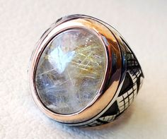 Rutile quartz natural stone semi precious oval cabochon sterling silver 925 man ring ottoman turkey middle eastern antique style any size