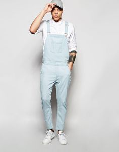Image 1 of ASOS Denim Overalls In Bow Leg Style