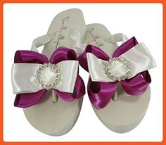 Festive Fuchsia Wedding Flip Flops with Ivory Regal Circle Bows - Sandals for women (*Amazon Partner-Link)