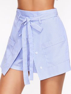 Shorts for Beach Summer Streetwear Shorts for Women Blue Striped Buttoned Overlap Front Belted Shorts - outfits Affordable Dresses, Trendy Dresses, Casual Dresses, Short Dresses, Casual Bags, Casual Shoes, Prom Dresses, Trendy Plus Size Clothing, Plus Size Outfits
