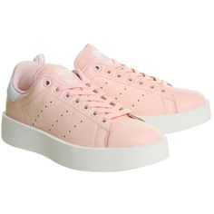 Stan Smith Bold Trainers by Adidas Supplied by Office (12780 DZD) ❤ liked on Polyvore featuring shoes, sneakers, pink, leather platform shoes, pink leather shoes, adidas shoes, leather trainers and platform trainers