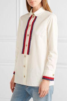 Gucci - Embellished Grosgrain-trimmed Cotton-poplin Shirt - Off-white - IT36