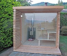 Sauna Cubo Sauna Cubo The post Sauna Cubo appeared first on Terrasse ideen. Diy Sauna, Sauna Hammam, Sauna House, Sauna Room, Sauna Kits, Modern Saunas, Sauna Design, Design Design, Arquitetura