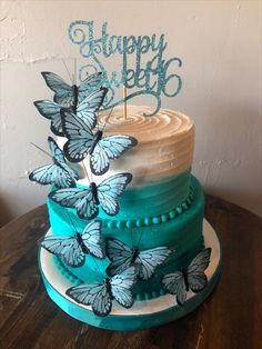 Sweet 16 Birthday Cake, 16th Birthday, Sweet 16 Cakes, Butterfly Cakes, Bakery, Desserts, Food, 16th Birthday Cakes, Tailgate Desserts
